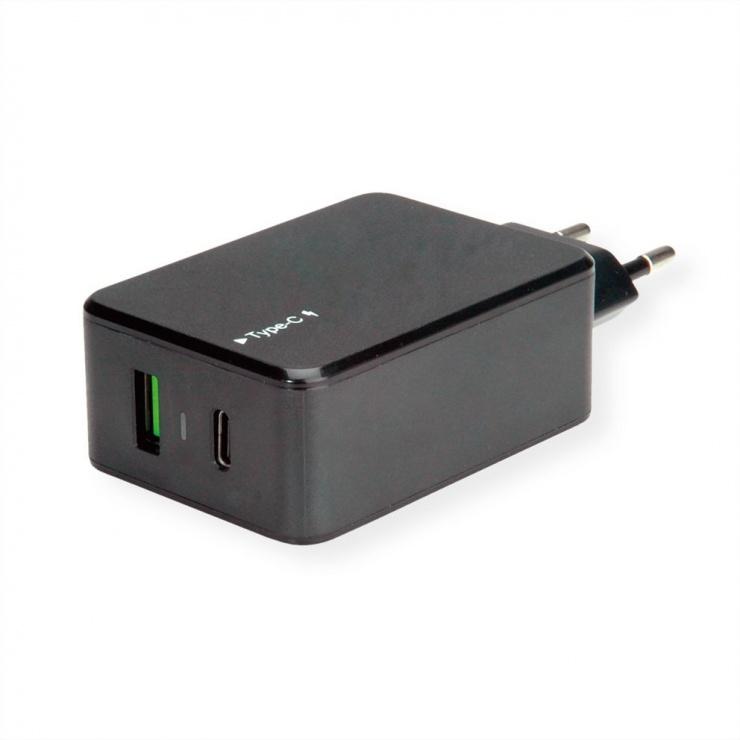 Imagine Incarcator priza 1 x USB-A Quick Charge 3.0 (incarcare rapida) + 1 x USB-C 33W Negru, Value 19.99.1091
