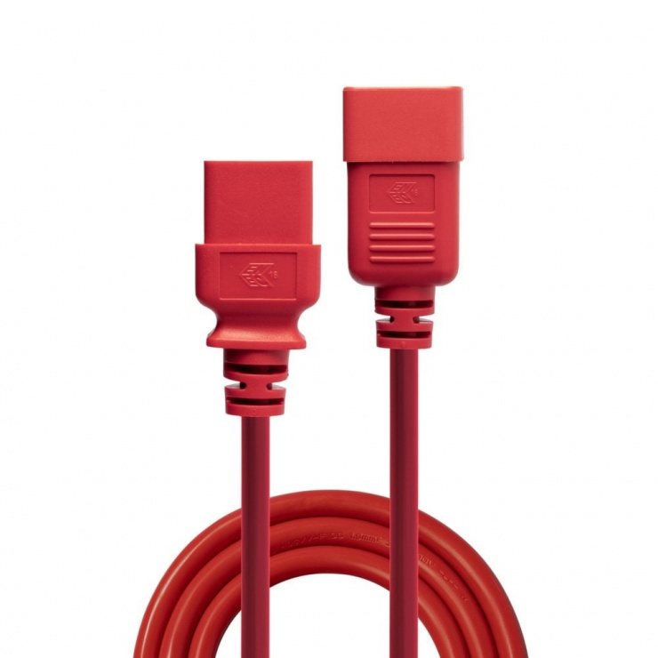 Imagine Cablu de alimentare IEC C19 la C20 3m Rosu, Lindy L30125