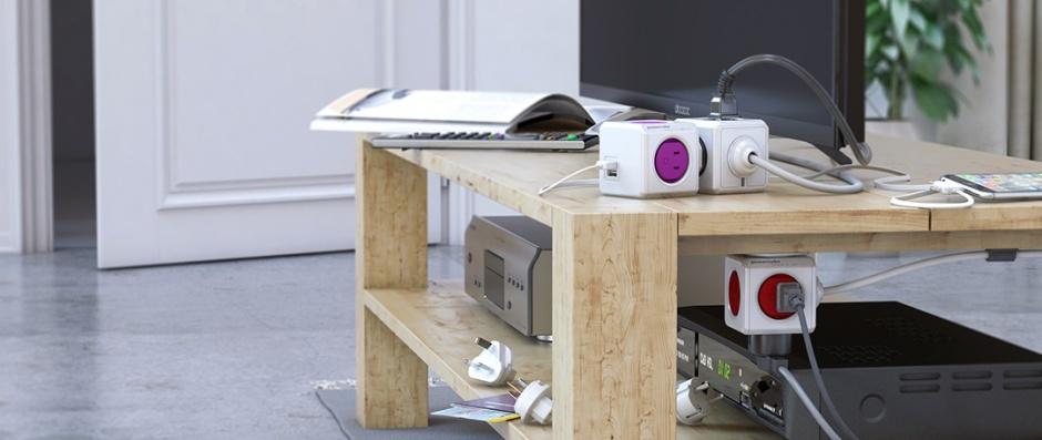 Imagine Prelungitor Power Cube ReWirable USB 4 prize + 2 x USB + 4 adaptoare priza, Allocacoc-2