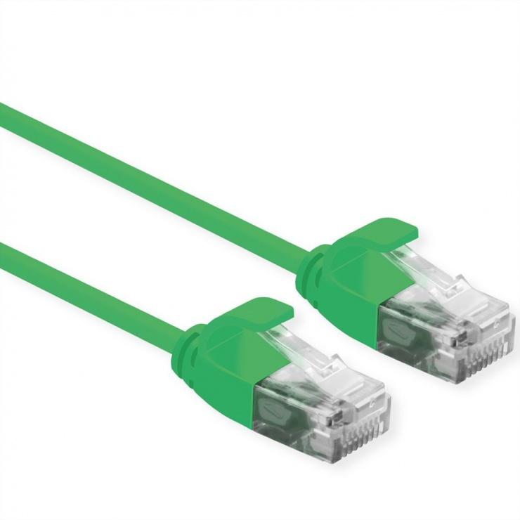 Imagine Cablu de retea Slim cat 6A UTP LSOH 0.3m Verde, Roline 21.15.3931