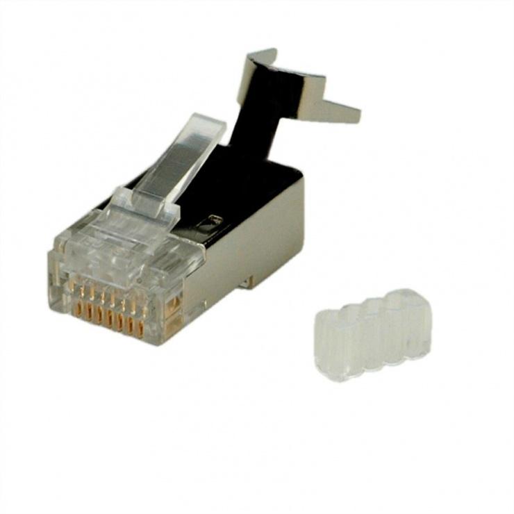 Imagine Set 10 buc mufe RJ45 cat 6 ecranate pentru fir solid, Roline 21.17.3063