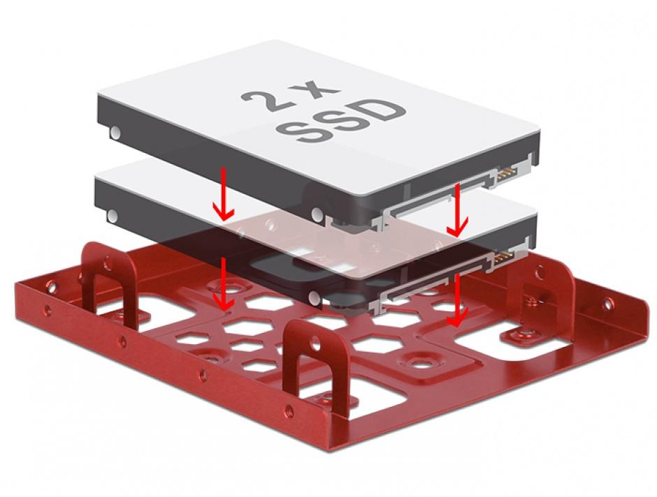 "Imagine Kit de instalare 2 x 2.5"" HDD in bay 3.5"" rosu aluminiu, Delock 21334"