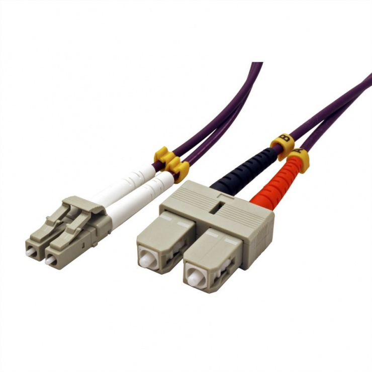 Imagine Cablu fibra optica LC-SC OM4 duplex multimode 1m, Value 21.99.8761-1