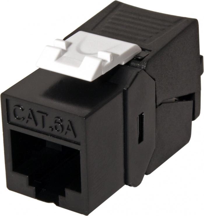 Imagine Keystone Cat. 6a RJ45 UTP tool-free SLIM Negru, Roline 26.11.0376
