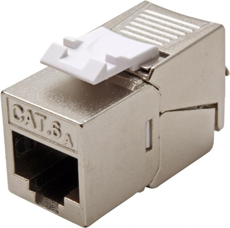 Imagine Keystone Cat.6a RJ45 STP tool-free SLIM silver, Roline 26.11.0378