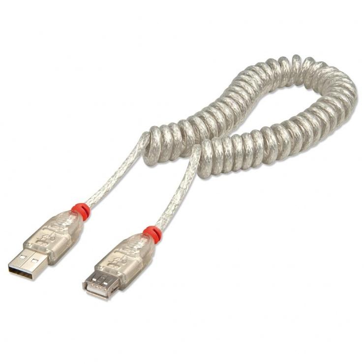 Imagine Cablu prelungitor USB 2.0 T-M spiralat 0.2m, Lindy L31927