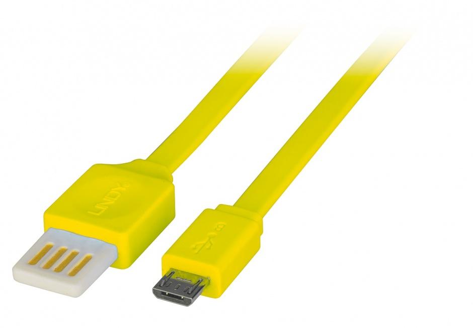 Imagine Cablu USB 2.0 la micro USB-B Flat reversibil 1m Galben, Lindy L30906