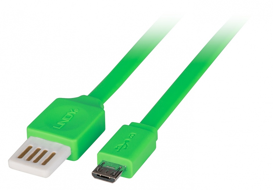 Imagine Cablu USB 2.0 la micro USB-B Flat reversibil 0.5m Verde, Lindy L30915