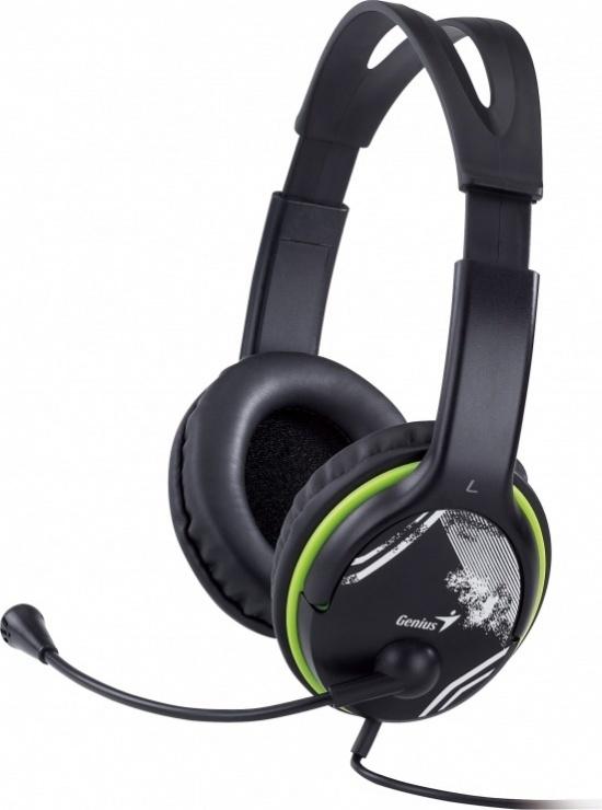Imagine Casti cu microfon Negru+verde, GENIUS HS-400A
