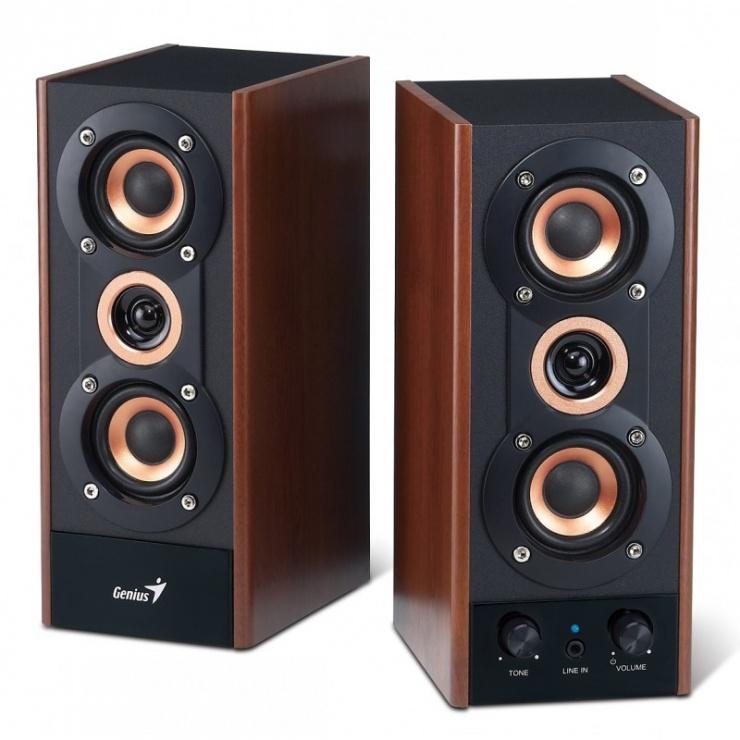 Imagine Boxe 2.0 GENIUS SP-HF800A 2 x 10W, Black&Cherry Wood