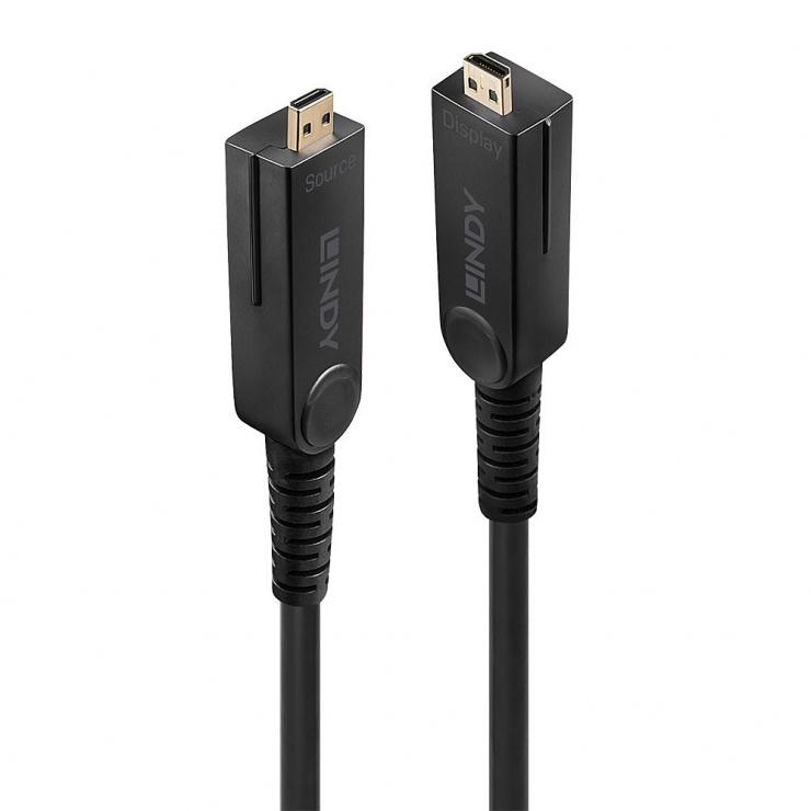 Imagine Cablu micro HDMI v2.0 4K60Hz Fibra optica Hybrid HDR - conectori HDMI, DVI detasabili T-T 20m, Lindy L38321