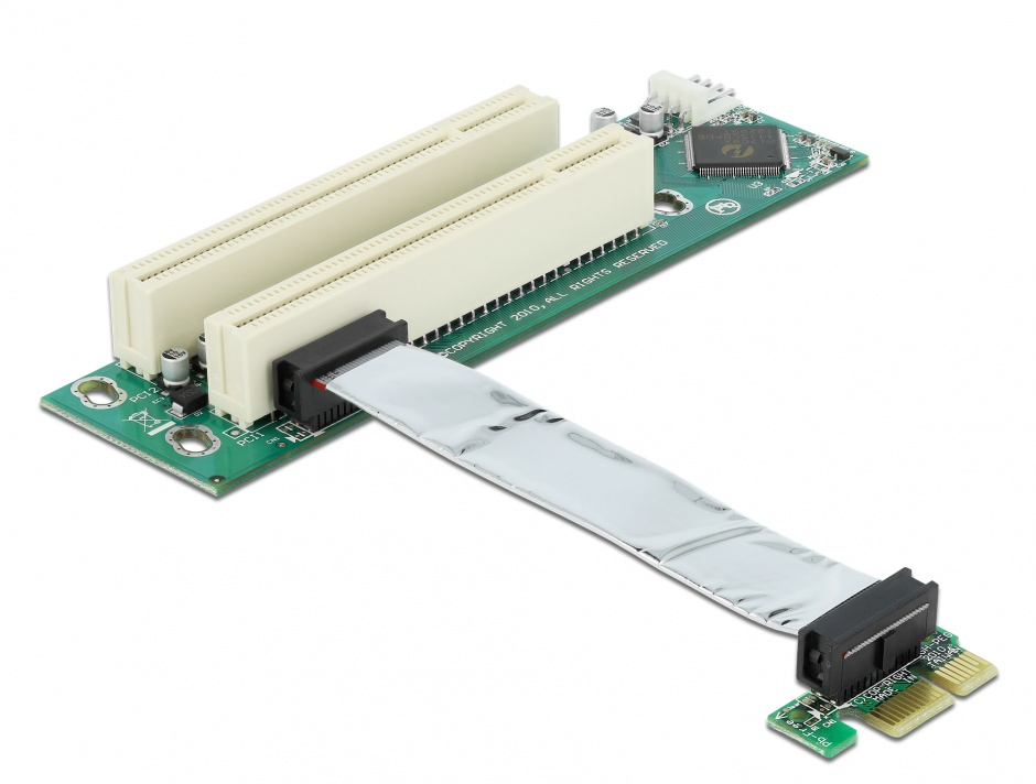 Imagine Placa PCI Express la 2 x PCI 32 Bit 5V cu cablu flexibil 9 cm, Delock 41341