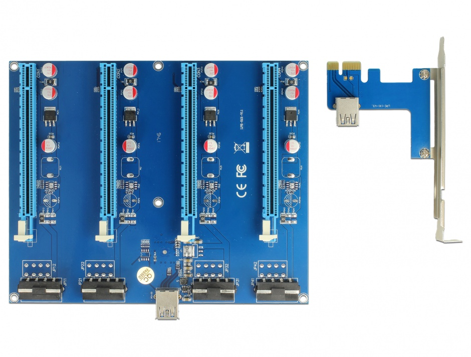 Imagine Riser Card PCI Express x1 la 4 x PCIe x16 + cablu USB 60cm, Delock 41427