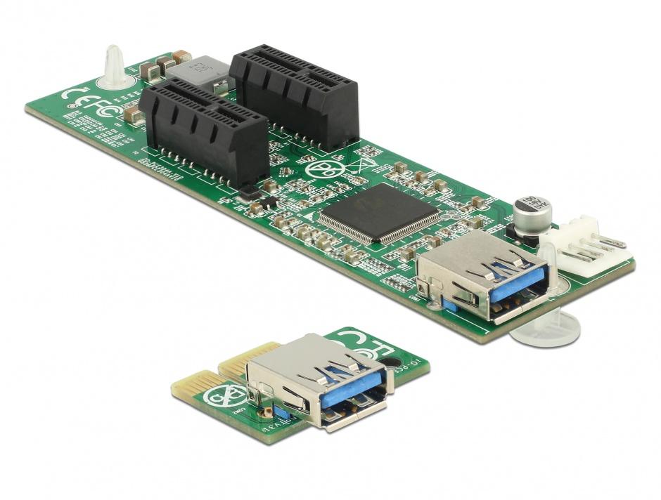 Imagine Riser Card PCI Express x1 la 2 x PCIe x1 cablu 30cm, Delock 41433