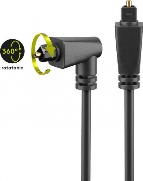 Imagine Cablu audio optic Toslink unghi 90 grade 1m, Goobay 41594