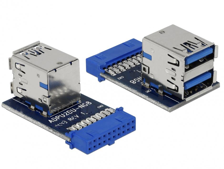 Imagine USB 3.0 Pin Header la 2 x USB 3.0 M-M, Delock 41865