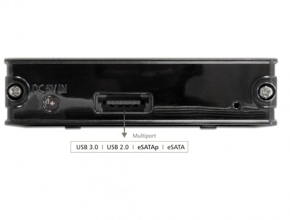 Imagine Rack extern 2.5 inch HDD SATA la Multiport USB 3.0 + eSATAp, Delock 42492