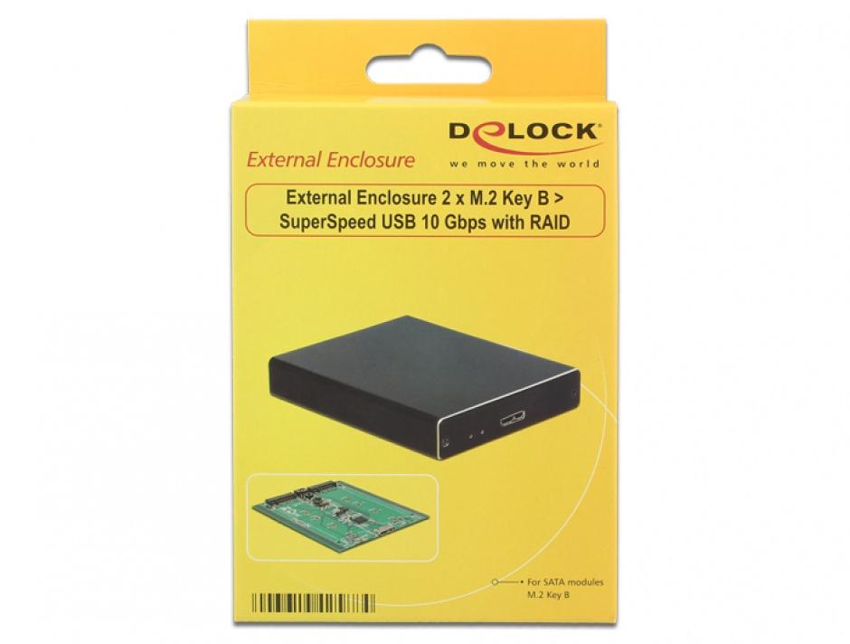 Imagine Rack extern USB 3.1 la 2 x M.2 Key B cu RAID, Delock 42588