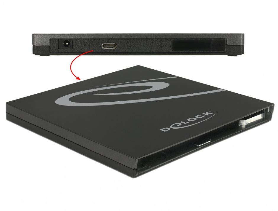 Imagine Enclosure extern pentru Ultra Slim SATA 9.5mm la USB 3.1-C, Delock 42595