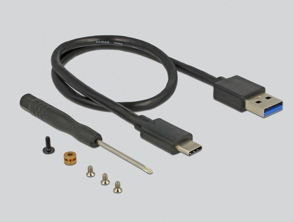 Imagine Rack extern M.2 Key B 42/60/80 mm SSD la USB tip C cu protectie la scriere, Delock 42599