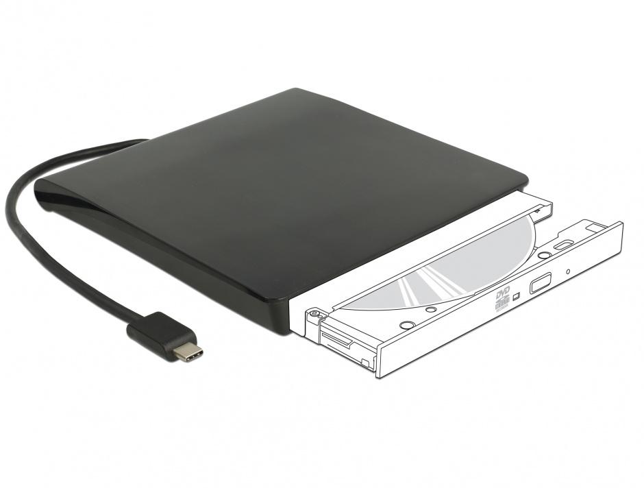 "Imagine Rack extern USB-C pentru dispozitive 5.25"" Slim SATA 12.7mm Negru, Delock 42601"