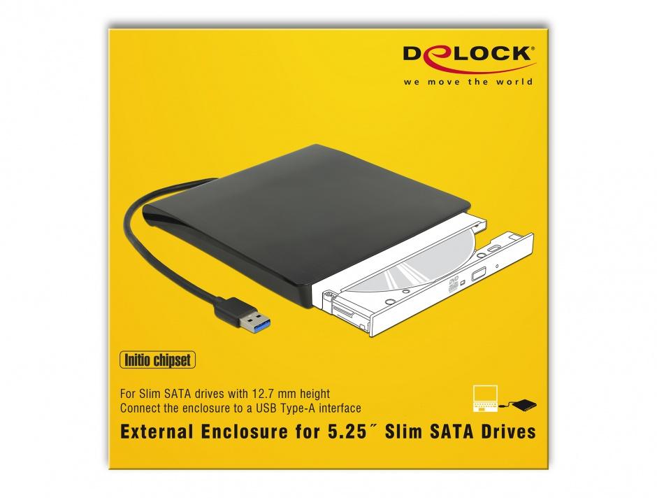 """Imagine Enclosure extern pentru dispozitive 5.25"""" Slim SATA 12.7 mm la USB-A Negru, Delock 42602"""