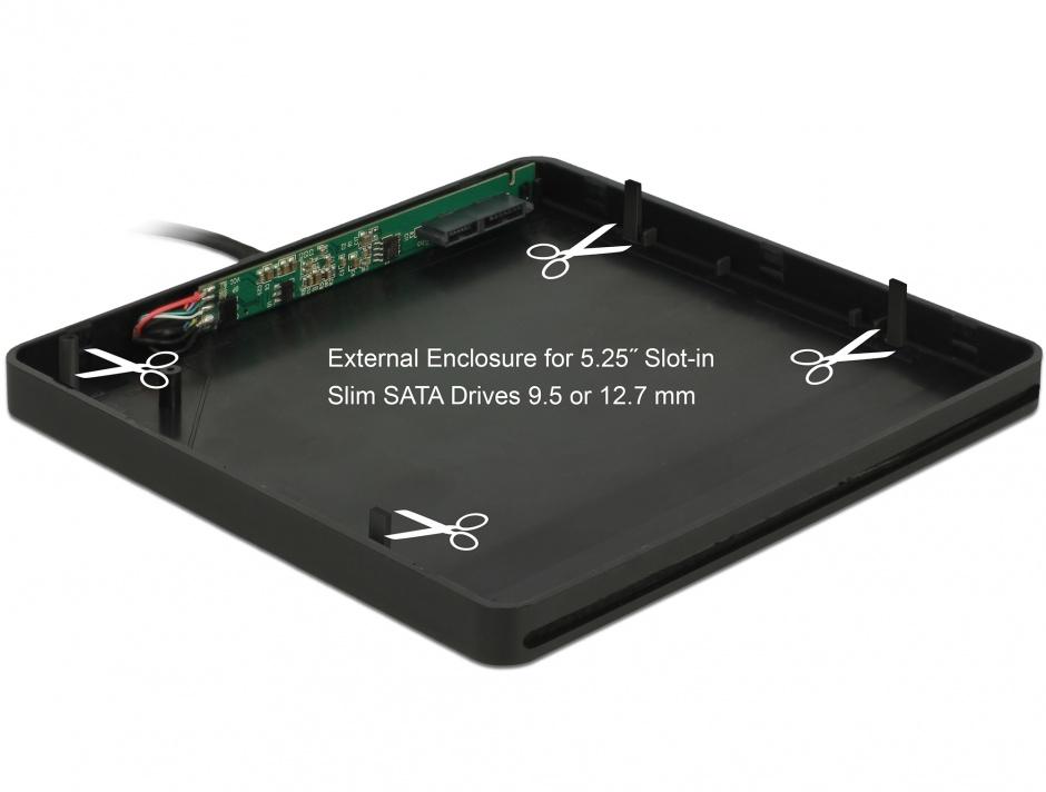 """Imagine Enclosure extern pentru dispozitive 5.25"""" Slot-in Slim SATA 9.5 / 12.7 mm la USB-A Negru, Delock 426"""