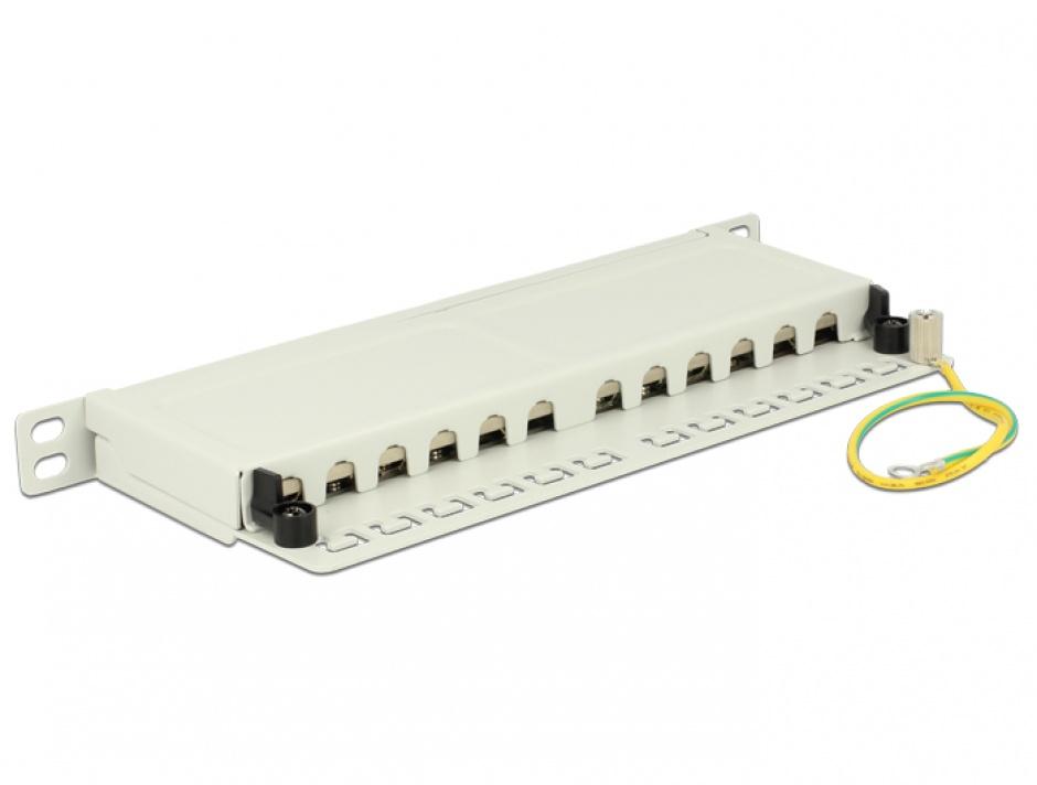 """Imagine Patch Panel 10"""" 12 porturi Cat.6A 0.5U gri, Delock 43311"""