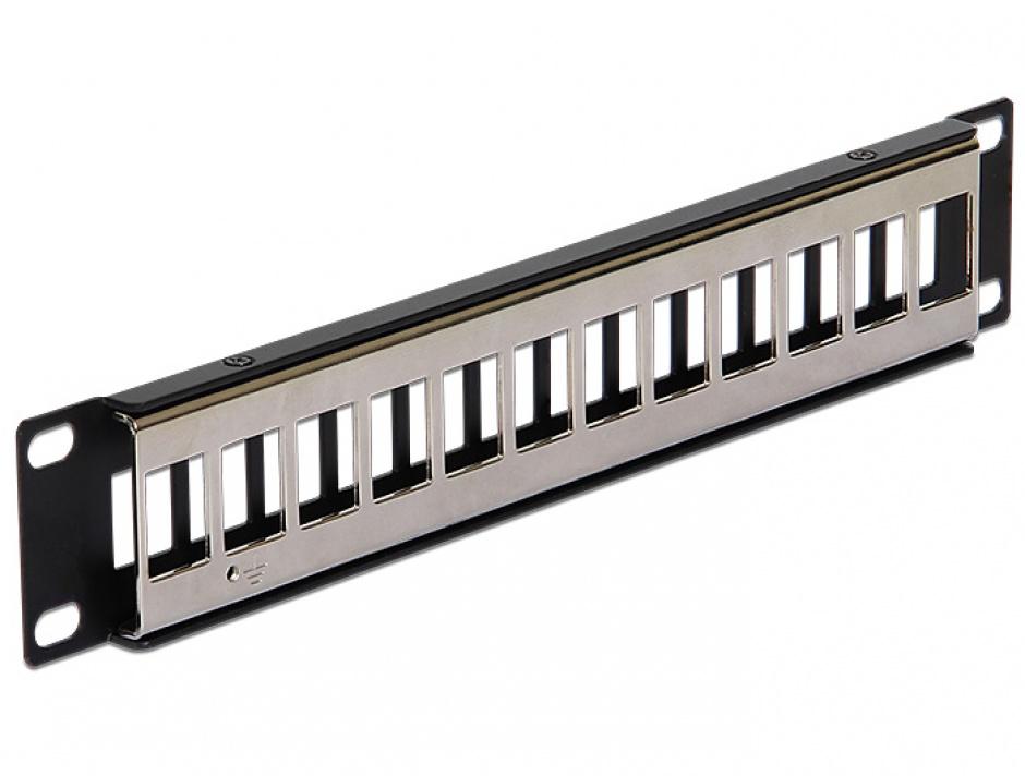 """Imagine Patch Panel metalic 10"""" pentru keystone 12 porturi negru, Delock 43326"""