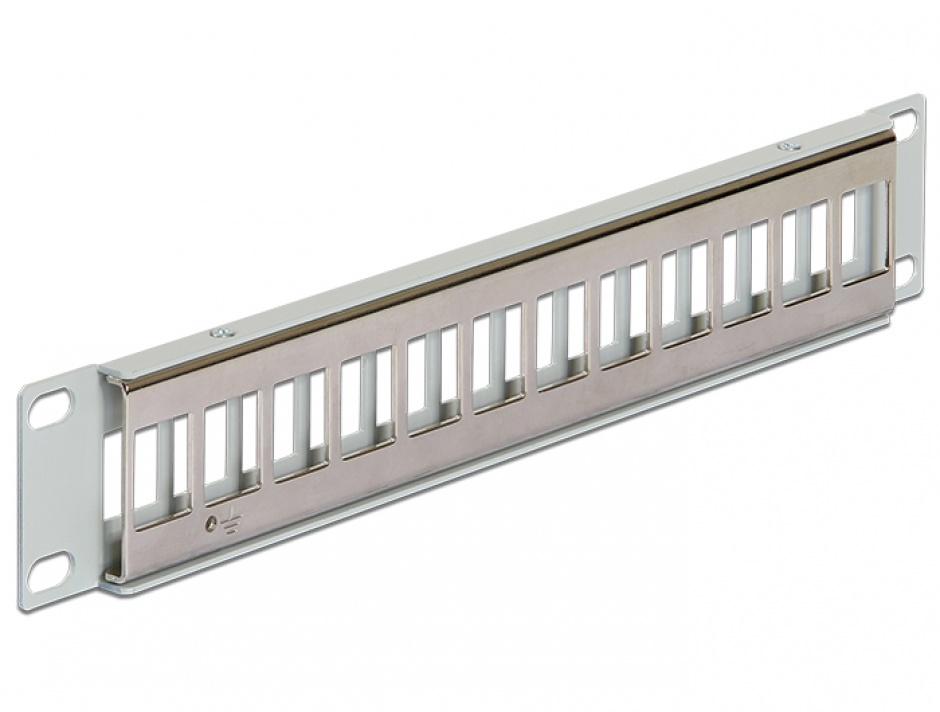 """Imagine Patch Panel 10"""" metalic pentru keystone 12 porturi gri, Delock 43327"""