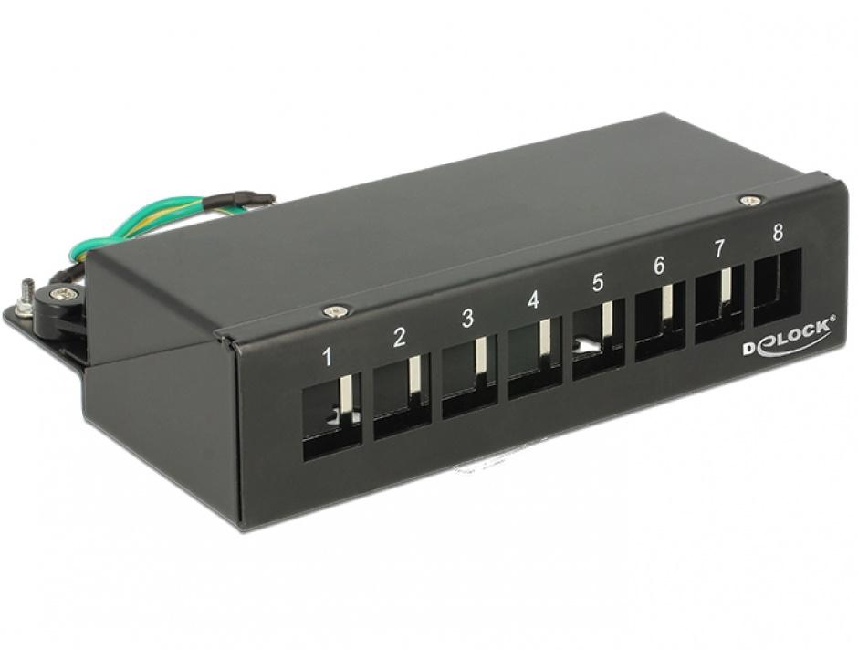 Imagine Patch Panel montare desktop pentru keystone 8 porturi negru, Delock 43338