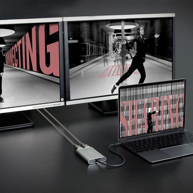 Imagine Adaptor Thunderbolt 3 (USB-C) la 2 x Displayport 4K60Hz v1.2, Lindy L43901