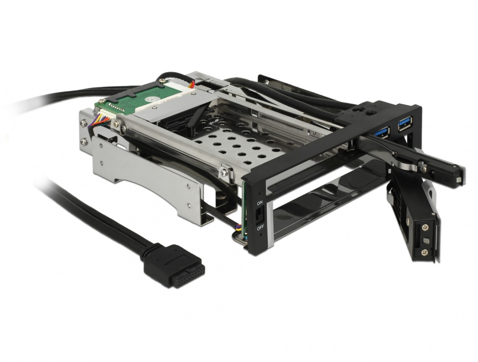 "Imagine Rack intern 5.25"" pentru HDD SATA 2.5"" + 3.5"", 2xUSB 3.0, Delock 47209"