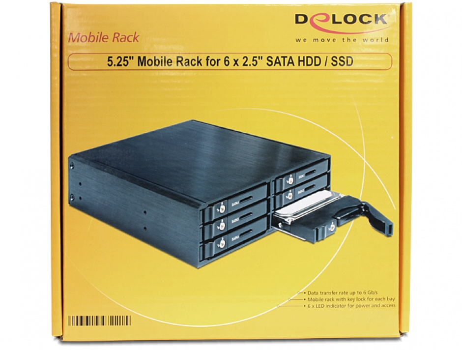 "Imagine Rack Mobil 5.25"" pentru 6 x SATA HDD/SSD, Delock 47221"