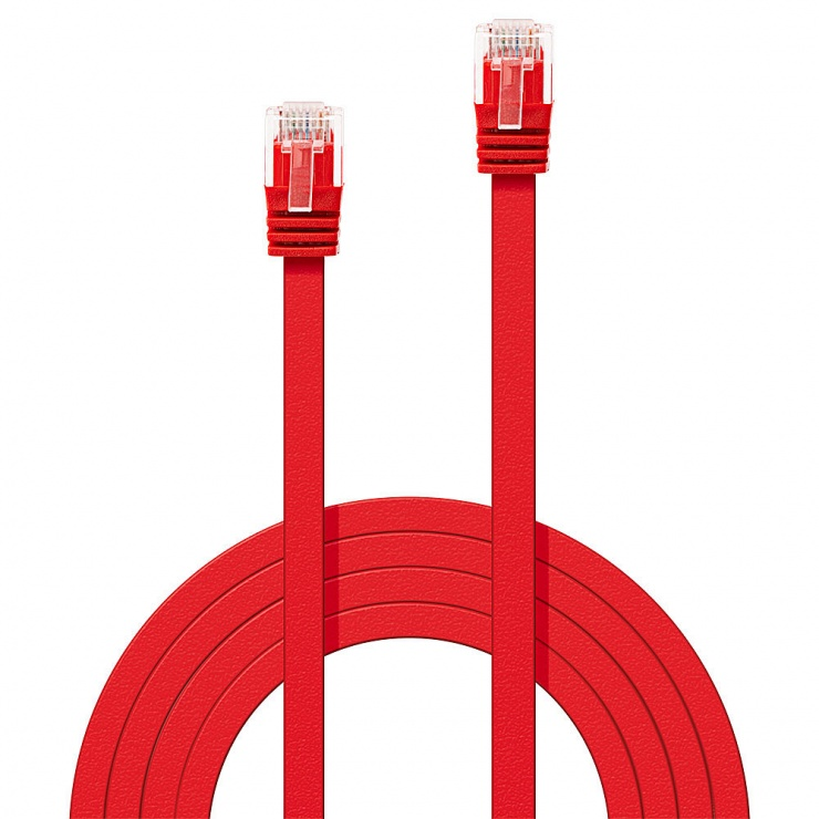 Imagine Cablu de retea cat 6 UTP Flat rosu 5m, Lindy L47514