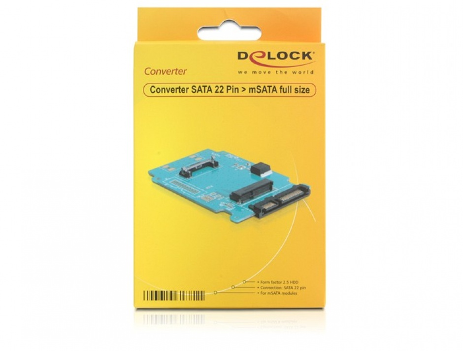 Imagine Convertor SATA 22 pini la mSATA, Delock 61881-2