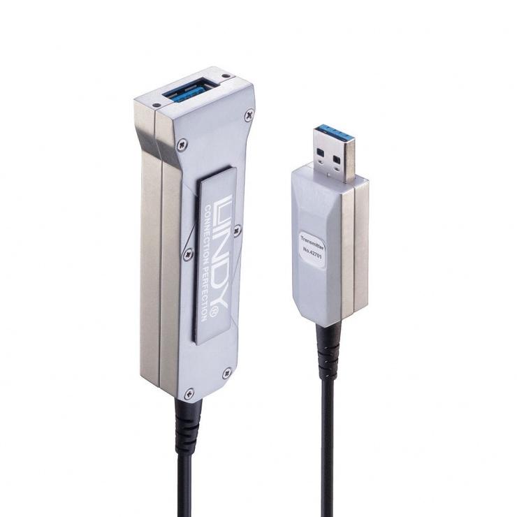 Imagine Cablu prelungitor USB 3.0 T-M Hybrid Fibra Optica 50m, Lindy L42701
