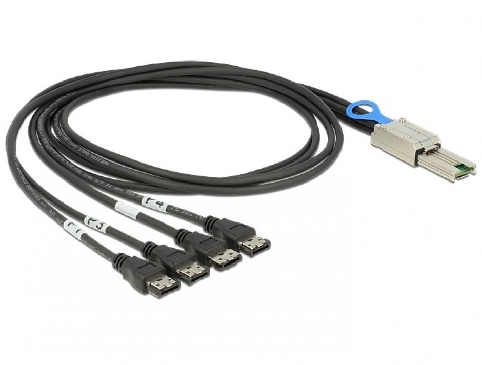 Imagine Cablu Mini SAS SFF-8088 la 4 x eSATA 1m, Delock 83064