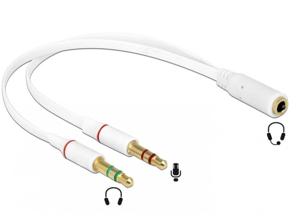 Imagine Adaptor Stereo jack 3.5mm la 2 x jack 3.5mm 3 pini pentru casca + microfon (iPhone) M-T, Delock 65585
