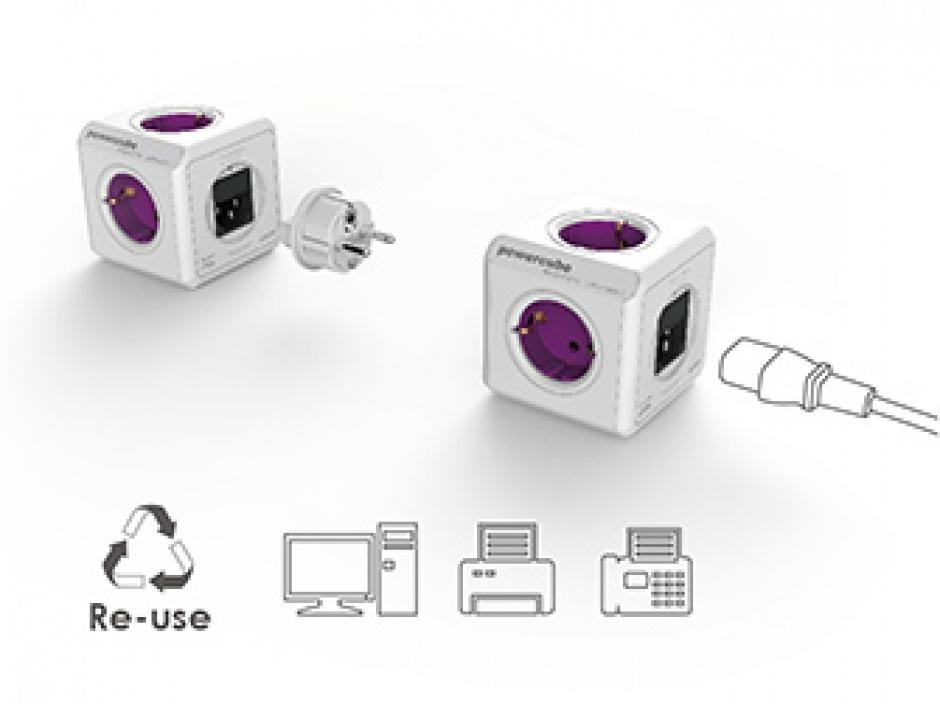Imagine Prelungitor Power Cube ReWirable USB 4 prize + 2 x USB + 4 adaptoare priza, Allocacoc-6