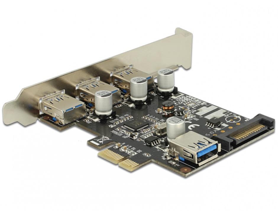 Imagine Placa PCI Express la 3 porturi externe + 1 port intern USB 3.0, Delock 89301-1