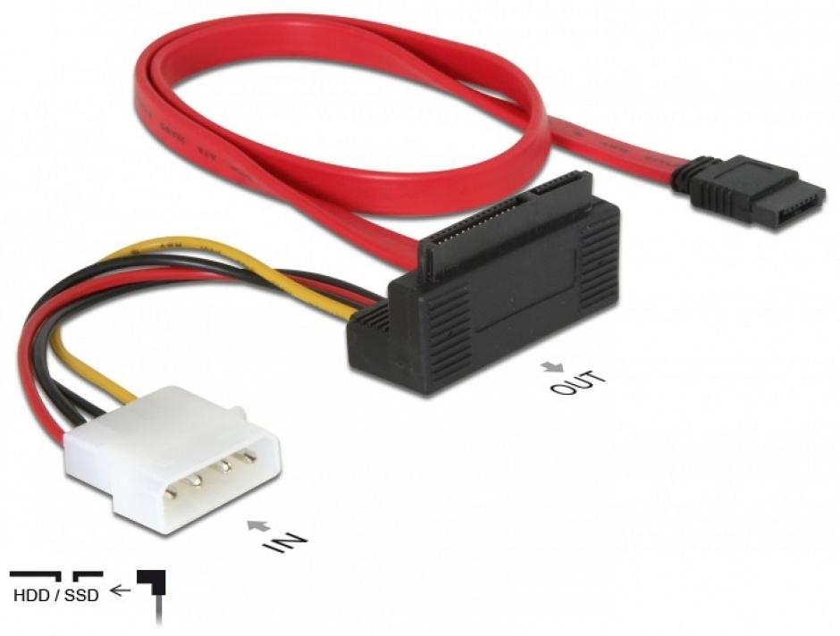 Imagine Cablu date + alimentare SATA II 22 pini in unghi, Delock 84307