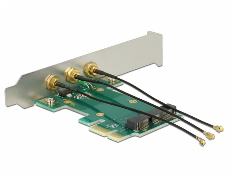 Imagine PCI Express la Mini PCI Express si 3 X RP-SMA, Delock 89294-1