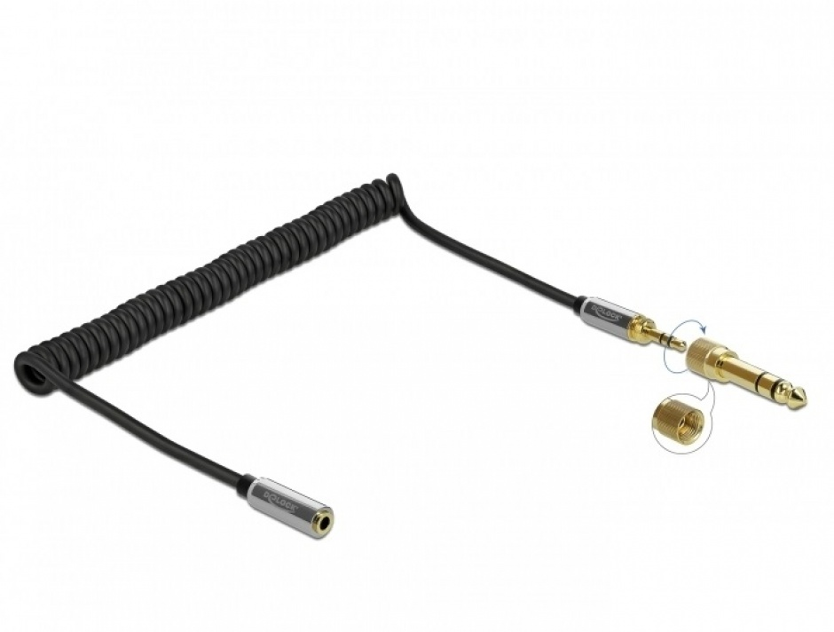 Imagine Cablu prelungitor spiralat jack stereo 3.5mm 3 pini T-M + adaptor 6.35mm 2m, Delock 85832