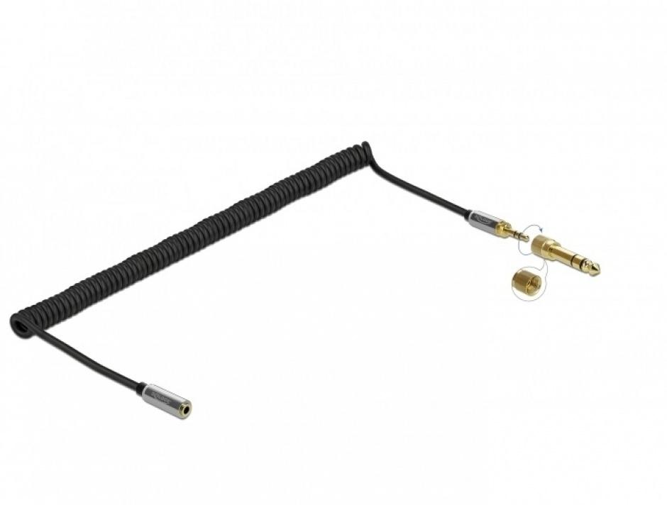 Imagine Cablu prelungitor spiralat jack stereo 3.5mm 3 pini T-M + adaptor 6.35mm 3m, Delock 85833