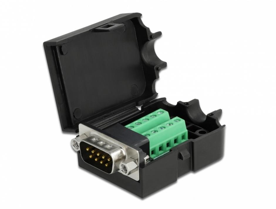 Imagine Terminal block 10 pini la serial D-SUB 9 pini tata + carcasa, Delock 66264