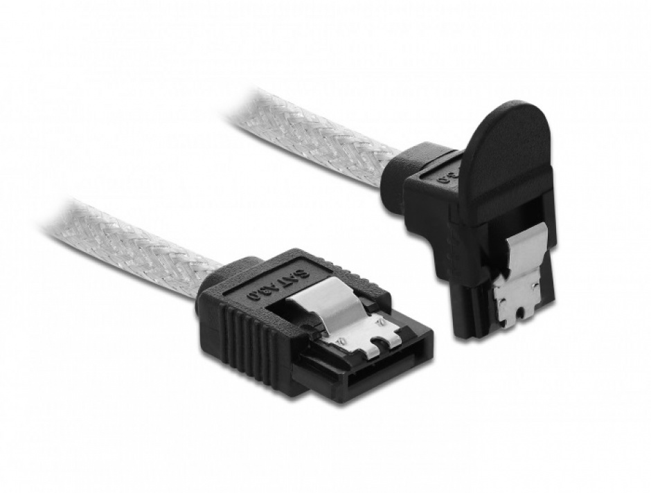 Imagine Cablu SATA III drept/unghi jos 30cm Transparent, Delock 85345