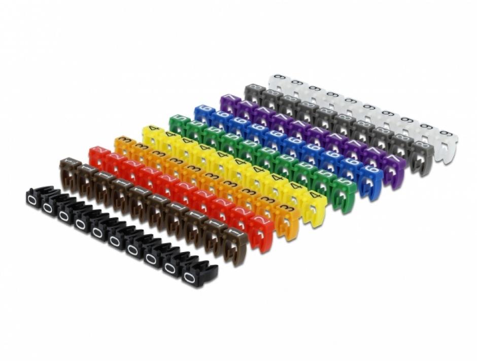 Imagine Set 100 buc clipsuri colorate 0-9 maxim 6mm, Delock 18304