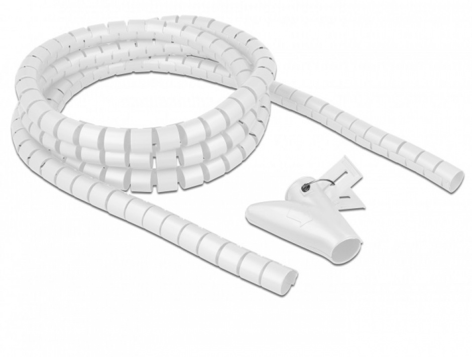 Imagine Organizator cabluri spiralat 2.5m x 20mm Alb, Delock 18840