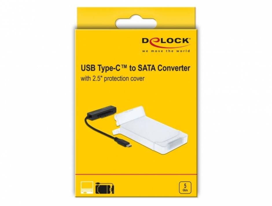 "Imagine Adaptor USB 3.0-C la SATA III pentru HDD 2.5"" cu carcasa protectie 15cm, Delock 64084"